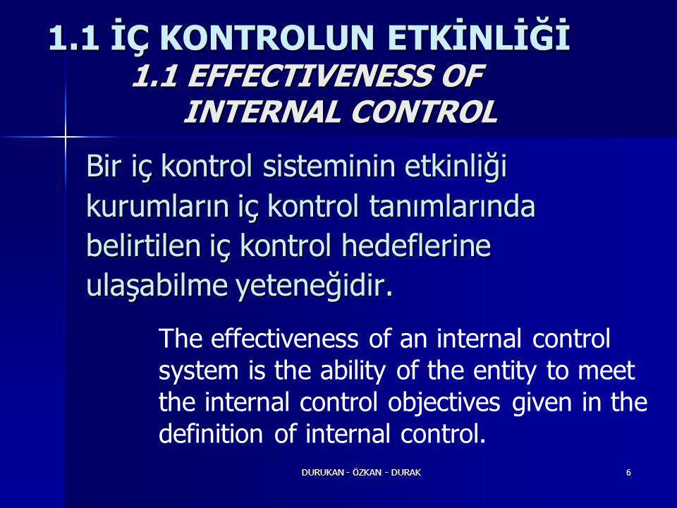 DURUKAN - ÖZKAN - DURAK6 Bir iç kontrol sisteminin etkinliği kurumların iç kontrol tanımlarında belirtilen iç kontrol hedeflerine ulaşabilme yeteneğid
