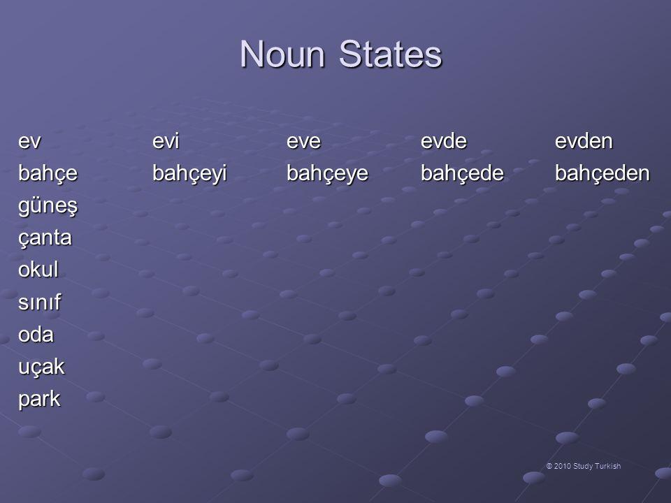 Noun States © 2010 Study Turkish evevieveevdeevden bahçebahçeyibahçeyebahçede bahçeden güneşçantaokulsınıfodauçakpark