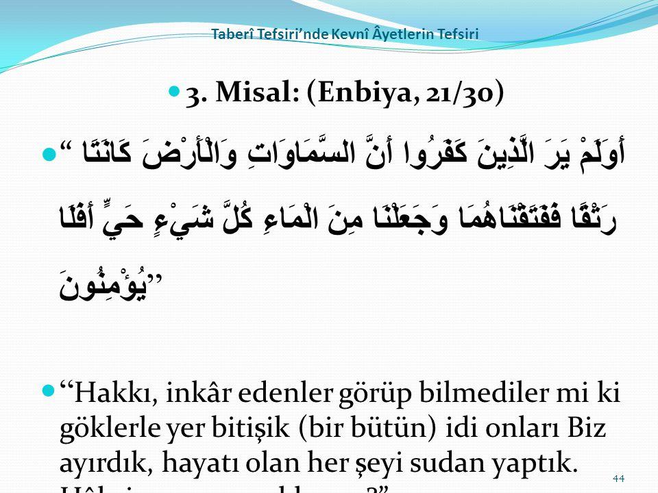 """Taberî Tefsiri'nde Kevnî Âyetlerin Tefsiri 3. Misal: (Enbiya, 21/30) """" أَوَلَمْ يَرَ الَّذِينَ كَفَرُوا أَنَّ السَّمَاوَاتِ وَالْأَرْضَ كَانَتَا رَتْق"""