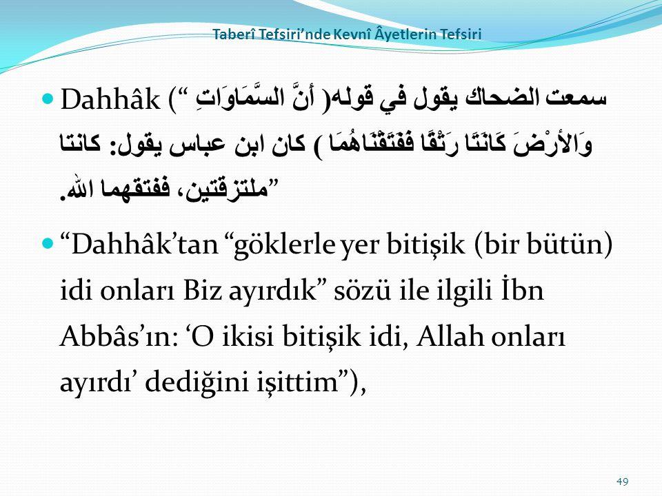 """Taberî Tefsiri'nde Kevnî Âyetlerin Tefsiri Dahhâk ("""" سمعت الضحاك يقول في قوله( أَنَّ السَّمَاوَاتِ وَالأرْضَ كَانَتَا رَتْقًا فَفَتَقْنَاهُمَا ) كان ا"""