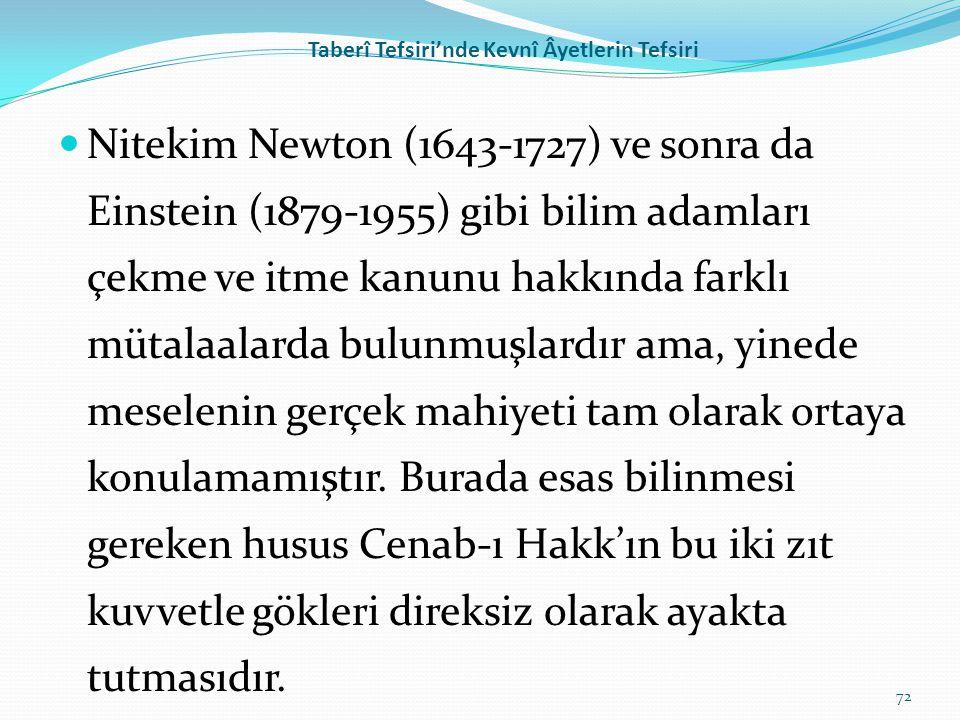 Taberî Tefsiri'nde Kevnî Âyetlerin Tefsiri Nitekim Newton (1643-1727) ve sonra da Einstein (1879-1955) gibi bilim adamları çekme ve itme kanunu hakkın