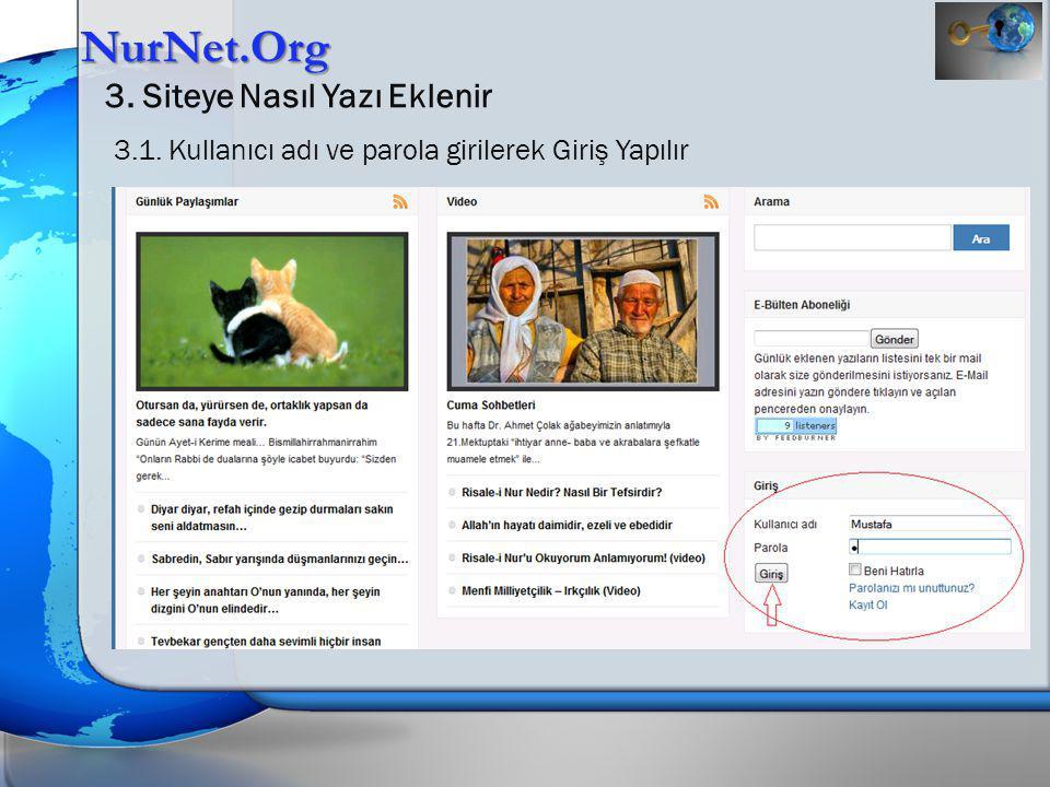 NurNet.Org 3. Siteye Nasıl Yazı Eklenir 3.1. Kullanıcı adı ve parola girilerek Giriş Yapılır