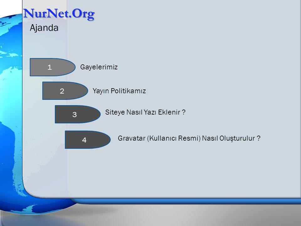 NurNet.Org Ajanda Gayelerimiz Yayın Politikamız Gravatar (Kullanıcı Resmi) Nasıl Oluşturulur ? 1 2 3 Siteye Nasıl Yazı Eklenir ? 4