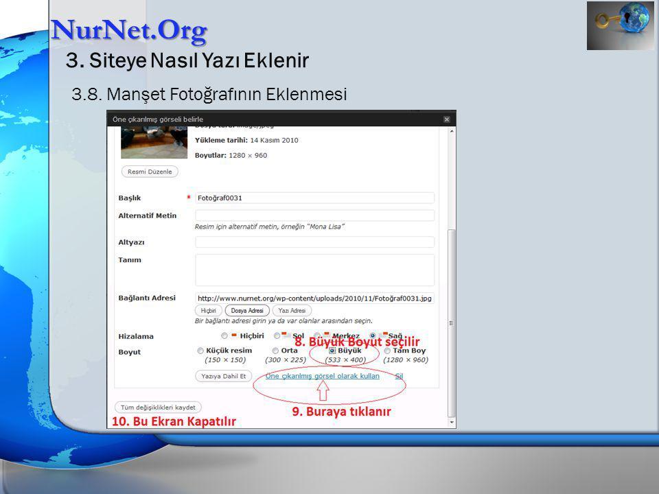 NurNet.Org 3. Siteye Nasıl Yazı Eklenir 3.8. Manşet Fotoğrafının Eklenmesi