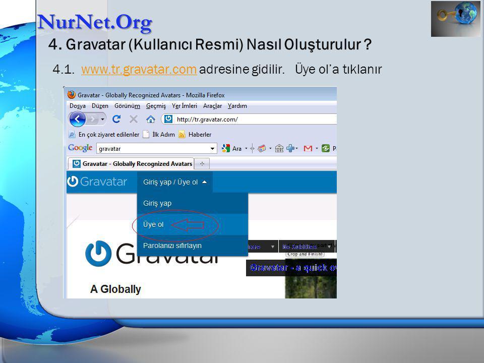 NurNet.Org 4. Gravatar (Kullanıcı Resmi) Nasıl Oluşturulur ? 4.1. www.tr.gravatar.com adresine gidilir. Üye ol'a tıklanırwww.tr.gravatar.com