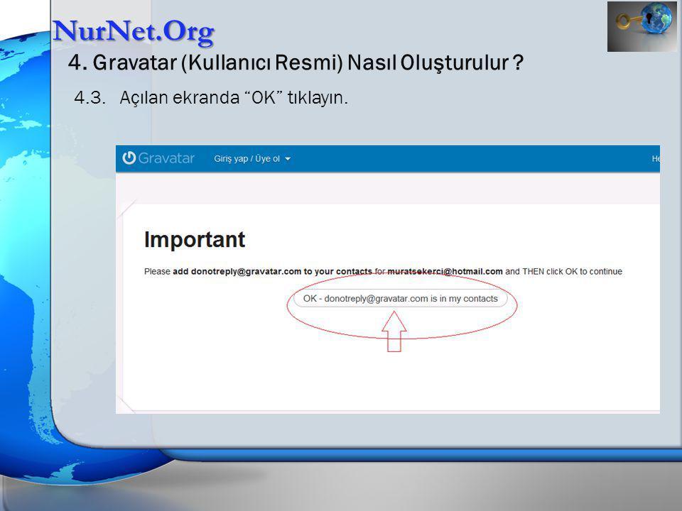 """NurNet.Org 4. Gravatar (Kullanıcı Resmi) Nasıl Oluşturulur ? 4.3. Açılan ekranda """"OK"""" tıklayın."""