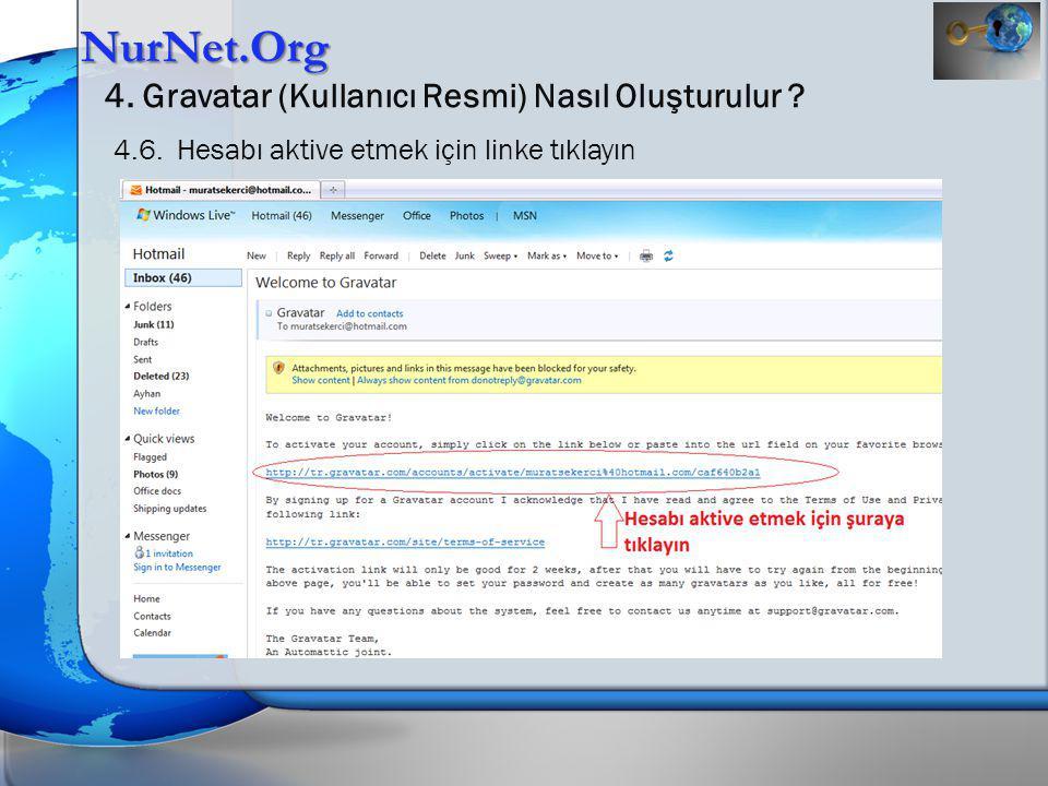NurNet.Org 4. Gravatar (Kullanıcı Resmi) Nasıl Oluşturulur ? 4.6. Hesabı aktive etmek için linke tıklayın