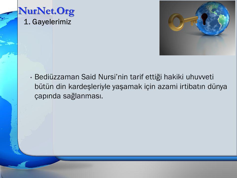 Bediüzzaman Said Nursi'nin tarif ettiği hakiki uhuvveti bütün din kardeşleriyle yaşamak için azami irtibatın dünya çapında sağlanması. NurNet.Org 1. G
