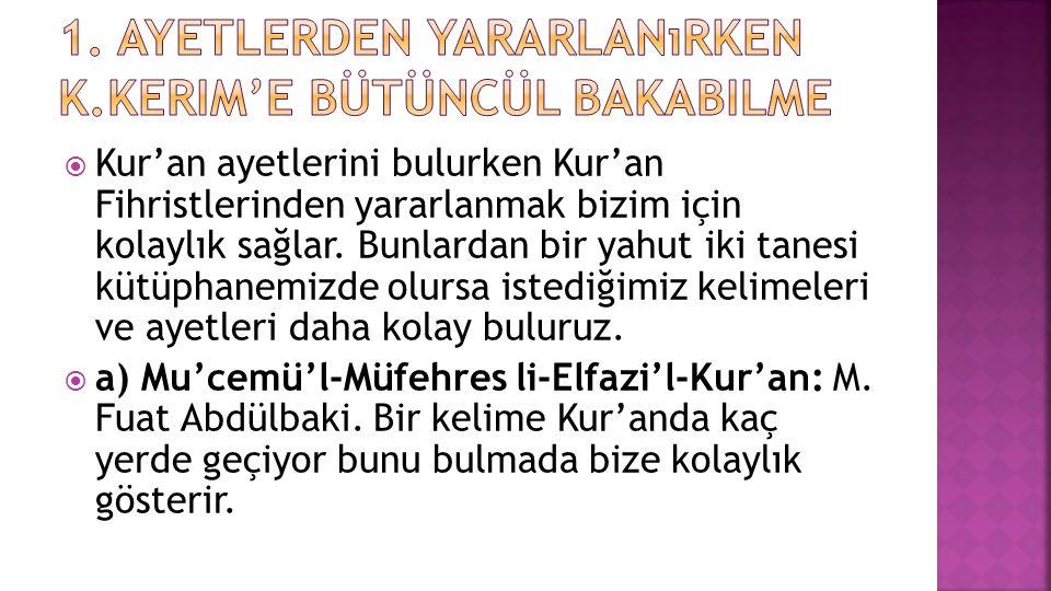  b) Kur'an-ı Kerim Lügati: eser Mahmut Çanga tarafından hazırlanmıştır.