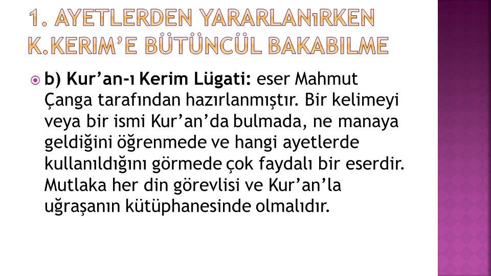  b) Kur'an-ı Kerim Lügati: eser Mahmut Çanga tarafından hazırlanmıştır. Bir kelimeyi veya bir ismi Kur'an'da bulmada, ne manaya geldiğini öğrenmede v