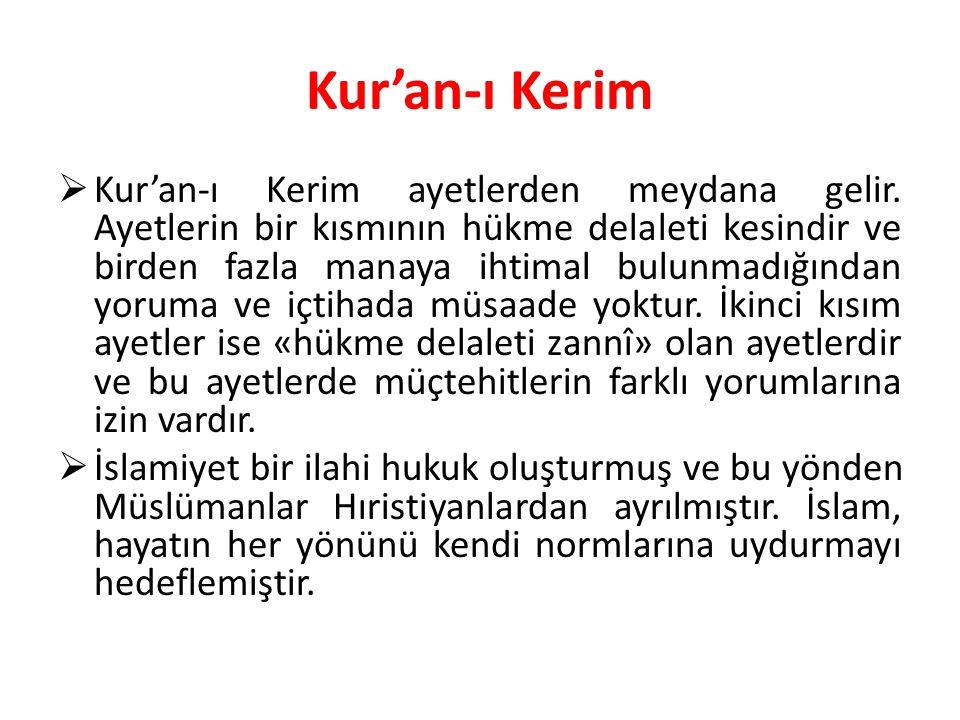 Kur'an-ı Kerim  Kur'an-ı Kerim ayetlerden meydana gelir. Ayetlerin bir kısmının hükme delaleti kesindir ve birden fazla manaya ihtimal bulunmadığında