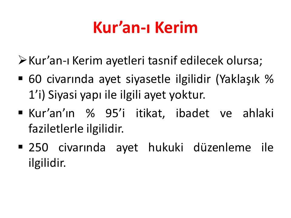 Kur'an-ı Kerim  Kur'an-ı Kerim ayetleri tasnif edilecek olursa;  60 civarında ayet siyasetle ilgilidir (Yaklaşık % 1'i) Siyasi yapı ile ilgili ayet