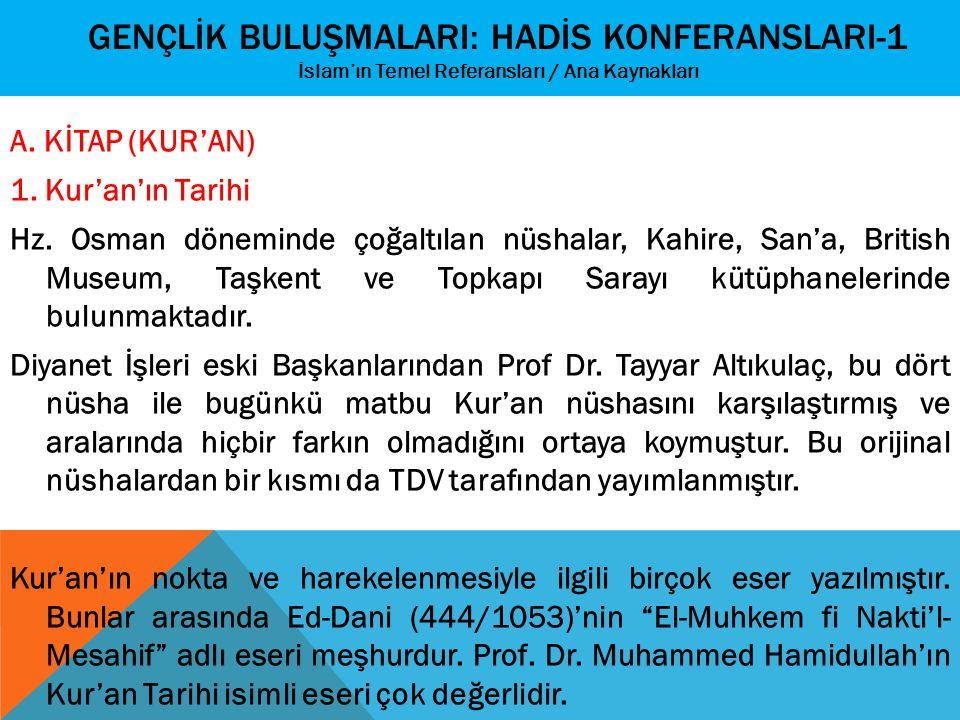 GENÇLİK BULUŞMALARI: HADİS KONFERANSLARI-1 İslam'ın Temel Referansları / Ana Kaynakları A. KİTAP (KUR'AN) 1. Kur'an'ın Tarihi Hz. Osman döneminde çoğa