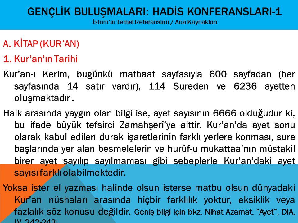 GENÇLİK BULUŞMALARI: HADİS KONFERANSLARI-1 İslam'ın Temel Referansları / Ana Kaynakları A. KİTAP (KUR'AN) 1. Kur'an'ın Tarihi Kur'an-ı Kerim, bugünkü