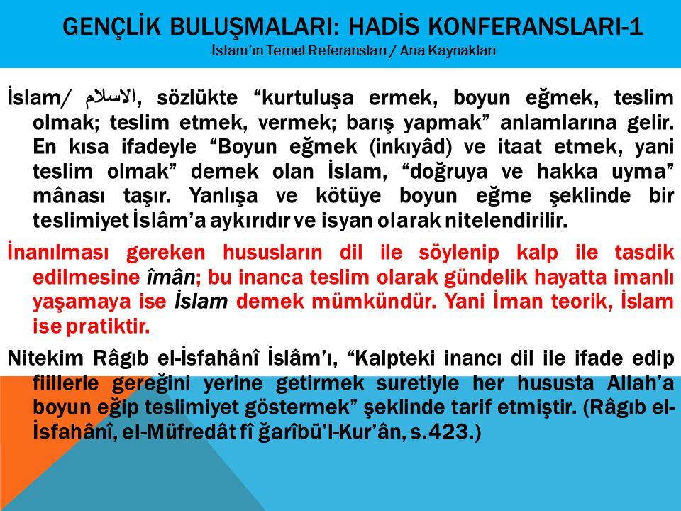 """GENÇLİK BULUŞMALARI: HADİS KONFERANSLARI-1 İslam'ın Temel Referansları / Ana Kaynakları İslam/ الاسلام, sözlükte """"kurtuluşa ermek, boyun eğmek, teslim"""