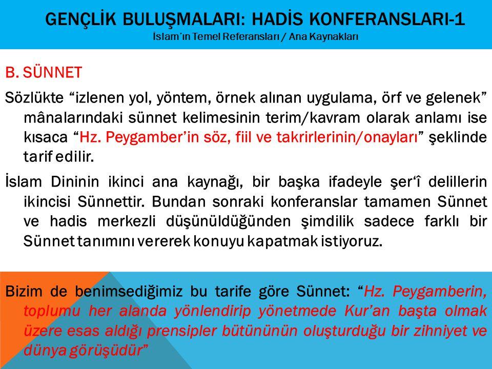 """GENÇLİK BULUŞMALARI: HADİS KONFERANSLARI-1 İslam'ın Temel Referansları / Ana Kaynakları B. SÜNNET Sözlükte """"izlenen yol, yöntem, örnek alınan uygulama"""