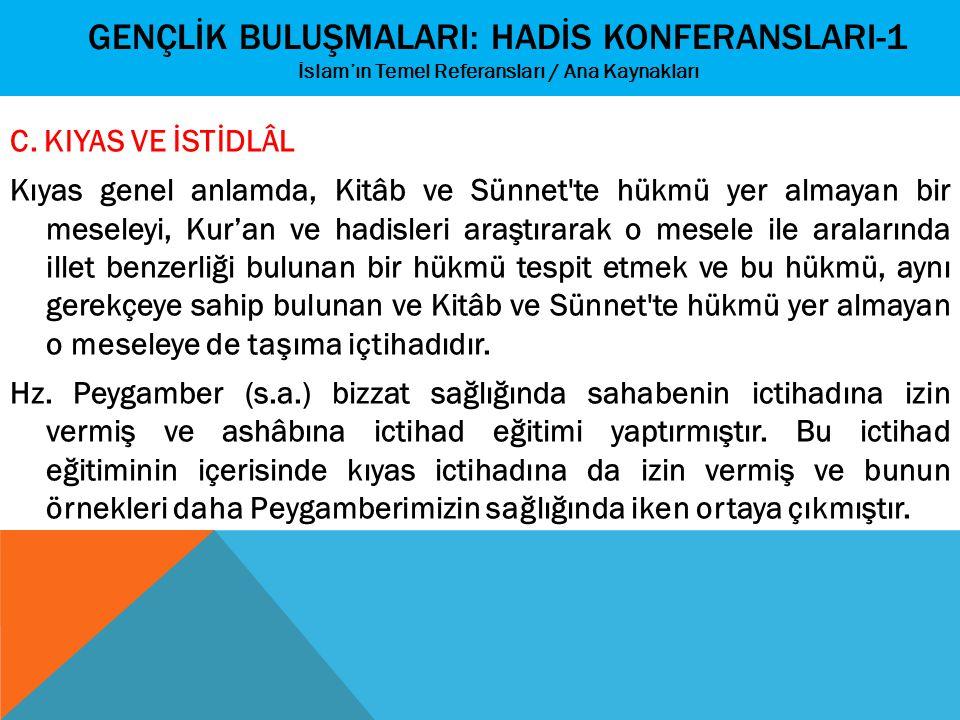 GENÇLİK BULUŞMALARI: HADİS KONFERANSLARI-1 İslam'ın Temel Referansları / Ana Kaynakları C. KIYAS VE İSTİDLÂL Kıyas genel anlamda, Kitâb ve Sünnet'te h
