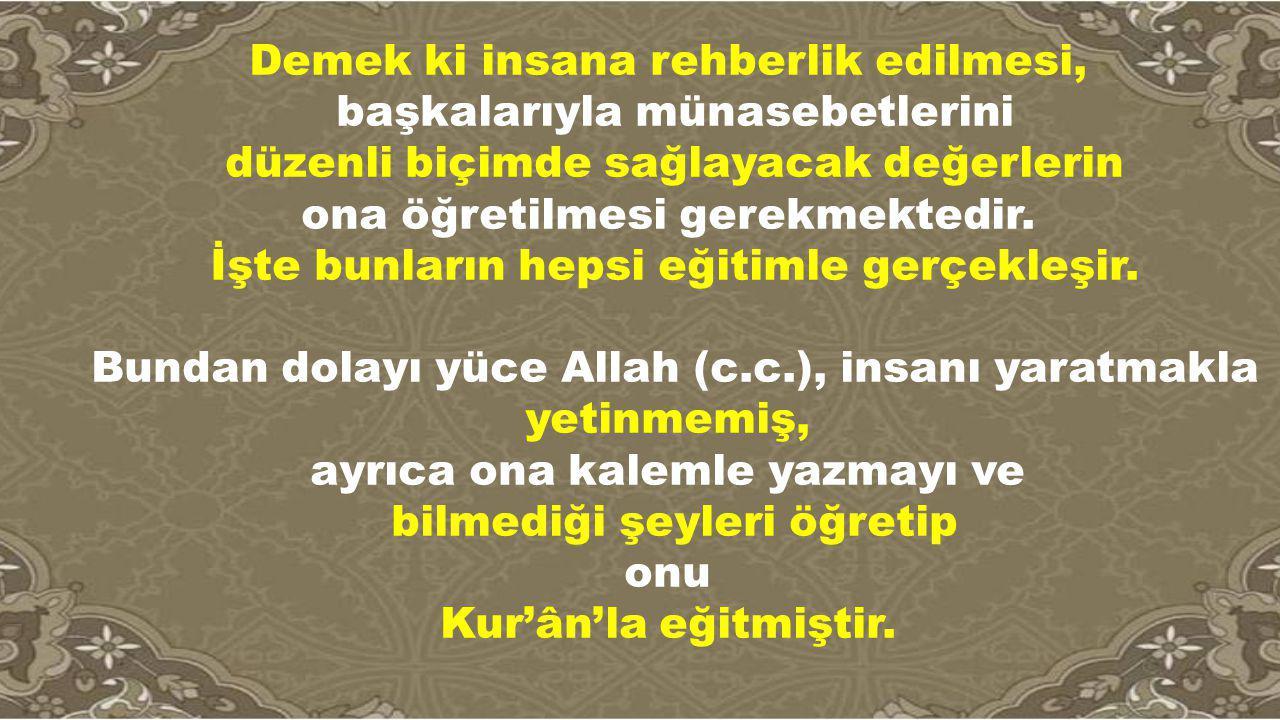 اَلرَّحْمنُ () عَلَّمَ الْقُرْانَ () خَلَقَ الْاِنْسَانَ () ''Rahman olan Allah Kuran ı öğretti; İnsanı yarattı.'' (Rahman, 55/1- 3) Her çağın şaşmaz rehberi olan Kur'an, insanları bilgilendirici ve eğitici âyetlerle doludur.