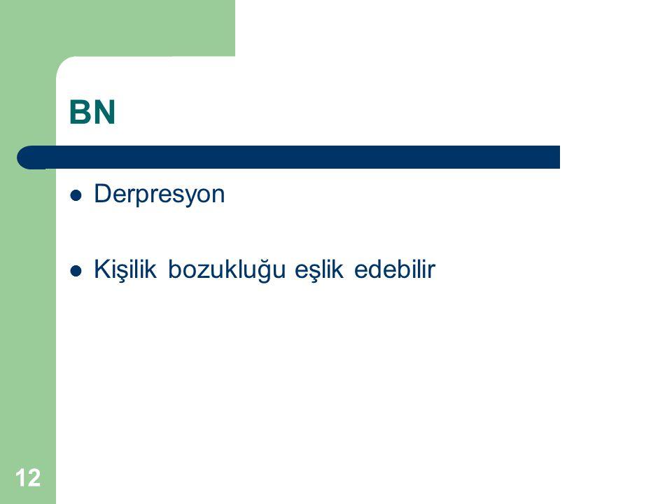 12 BN Derpresyon Kişilik bozukluğu eşlik edebilir