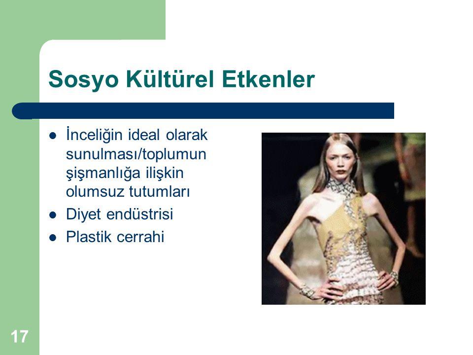 17 Sosyo Kültürel Etkenler İnceliğin ideal olarak sunulması/toplumun şişmanlığa ilişkin olumsuz tutumları Diyet endüstrisi Plastik cerrahi