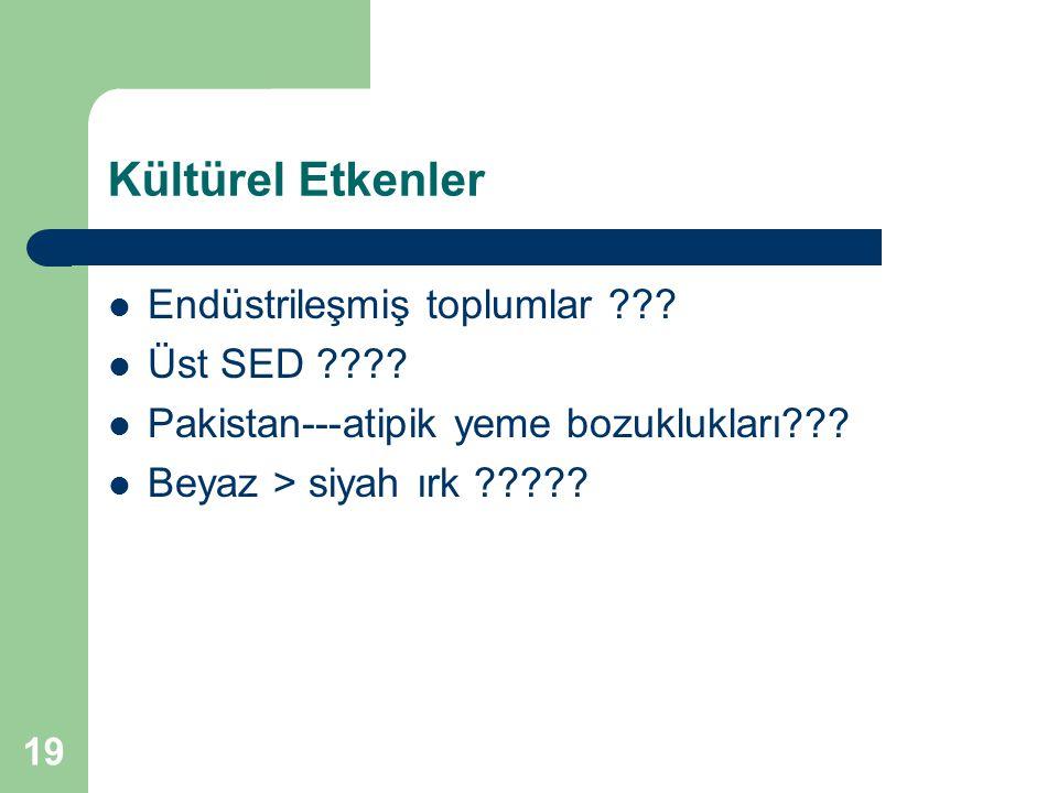 19 Kültürel Etkenler Endüstrileşmiş toplumlar ??? Üst SED ???? Pakistan---atipik yeme bozuklukları??? Beyaz > siyah ırk ?????