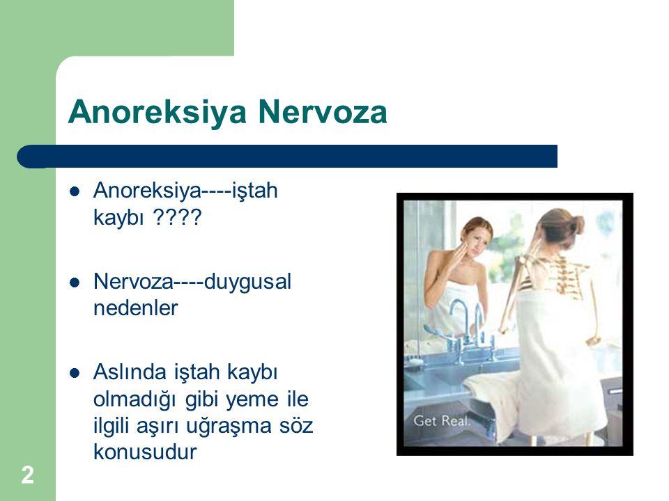 2 Anoreksiya Nervoza Anoreksiya----iştah kaybı ???? Nervoza----duygusal nedenler Aslında iştah kaybı olmadığı gibi yeme ile ilgili aşırı uğraşma söz k