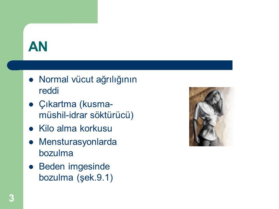 3 AN Normal vücut ağrılığının reddi Çıkartma (kusma- müshil-idrar söktürücü) Kilo alma korkusu Mensturasyonlarda bozulma Beden imgesinde bozulma (şek.
