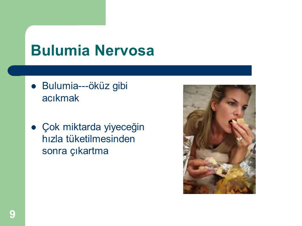 9 Bulumia Nervosa Bulumia---öküz gibi acıkmak Çok miktarda yiyeceğin hızla tüketilmesinden sonra çıkartma