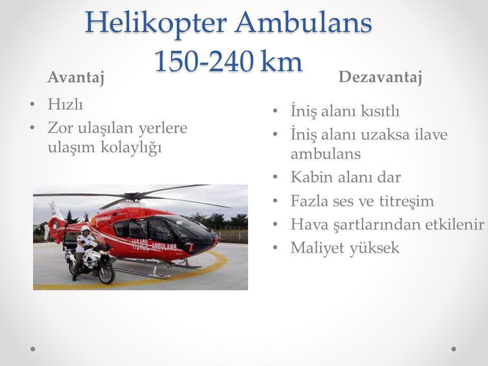 Helikopter Ambulans 150-240 km Avantaj Dezavantaj Hızlı Zor ulaşılan yerlere ulaşım kolaylığı İniş alanı kısıtlı İniş alanı uzaksa ilave ambulans Kabin alanı dar Fazla ses ve titreşim Hava şartlarından etkilenir Maliyet yüksek