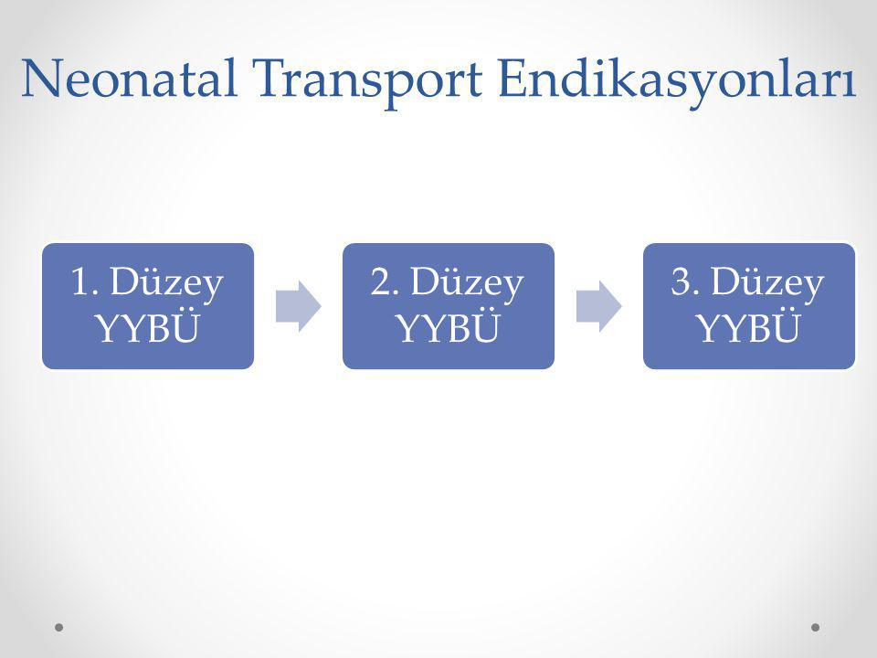 Neonatal Transport Endikasyonları 1. Düzey YYBÜ 2. Düzey YYBÜ 3. Düzey YYBÜ