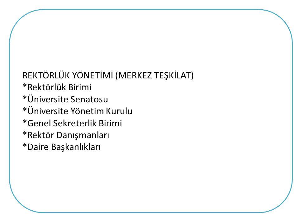 YÜKSEKÖĞRETİM ÜST KURULUŞLARI İLE YÜKSEKÖĞRETİM KURUMLARININ İDARİ TEŞKİLATI HAKKINDA KANUN HÜKMÜNDE KARARNAME GENEL SEKRETERLİK VE DAİRE BAŞKANLIKLARI Üniversite İdari Teşkilatı: Madde 26 - Üniversite İdari Teşkilatı aşağıdaki birimlerden oluşur: a) Genel Sekreterlik, b) Yapı İşleri ve Teknik Daire Başkanlığı, c) Personel Daire Başkanlığı, d) İdari ve Mali İşler Daire Başkanlığı (Destek Hizmetleri Daire Başkanlığı) e) Strateji Geliştirme Daire Başkanlığı (Komptrolorlük Daire Başkanlığı ) f) Öğrenci İşleri Daire Başkanlığı, g) Sağlık,Kültür ve Spor Daire Başkanlığı, h) Kütüphane ve Dokümantasyon Daire Başkanlığı, i) Bilgi İşlem Daire Başkanlığı, j) Hukuk Müşavirliği, k) Üniversite Hastanesi Başmüdürlüğü.
