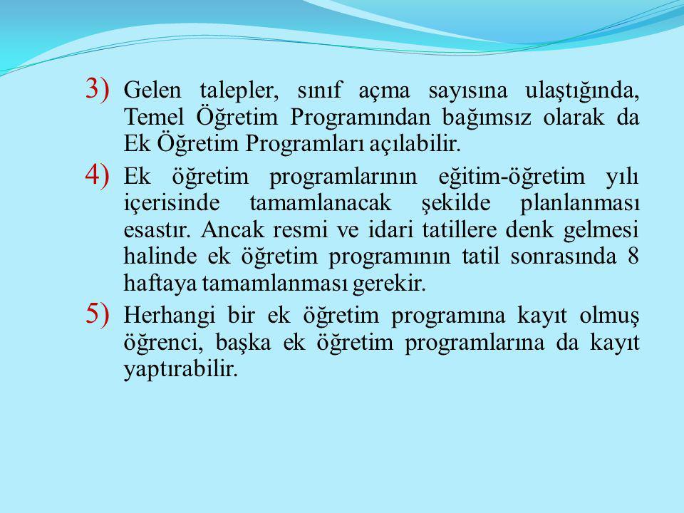3) Gelen talepler, sınıf açma sayısına ulaştığında, Temel Öğretim Programından bağımsız olarak da Ek Öğretim Programları açılabilir. 4) Ek öğretim pro