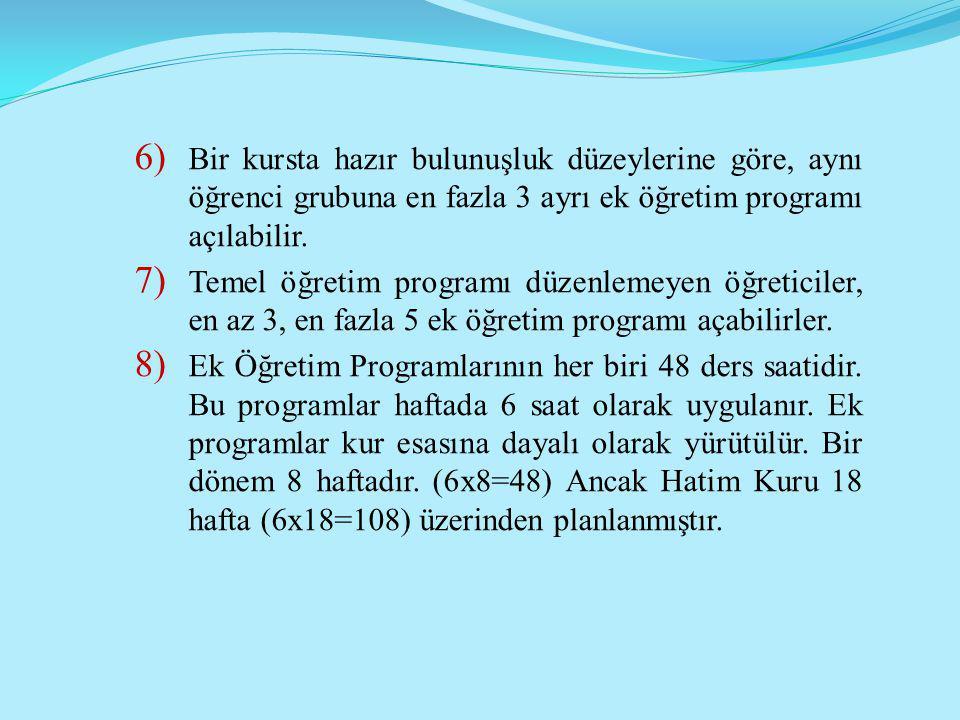 6) Bir kursta hazır bulunuşluk düzeylerine göre, aynı öğrenci grubuna en fazla 3 ayrı ek öğretim programı açılabilir. 7) Temel öğretim programı düzenl