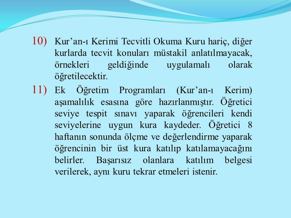 10) Kur'an-ı Kerimi Tecvitli Okuma Kuru hariç, diğer kurlarda tecvit konuları müstakil anlatılmayacak, örnekleri geldiğinde uygulamalı olarak öğretile