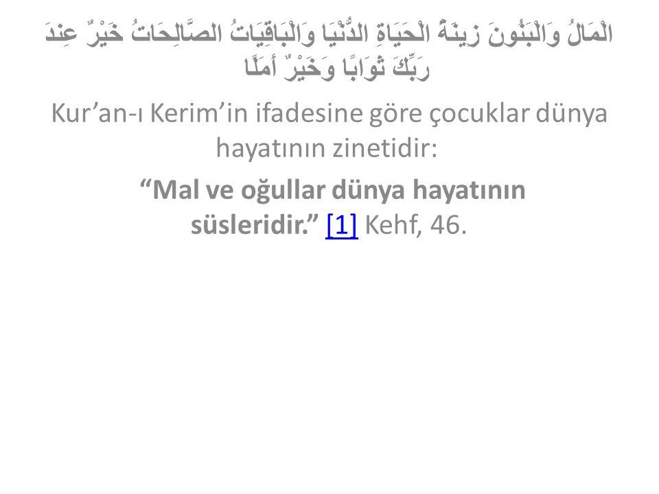 الْمَالُ وَالْبَنُونَ زِينَةُ الْحَيَاةِ الدُّنْيَا وَالْبَاقِيَاتُ الصَّالِحَاتُ خَيْرٌ عِندَ رَبِّكَ ثَوَابًا وَخَيْرٌ أَمَلًا Kur'an-ı Kerim'in ifa