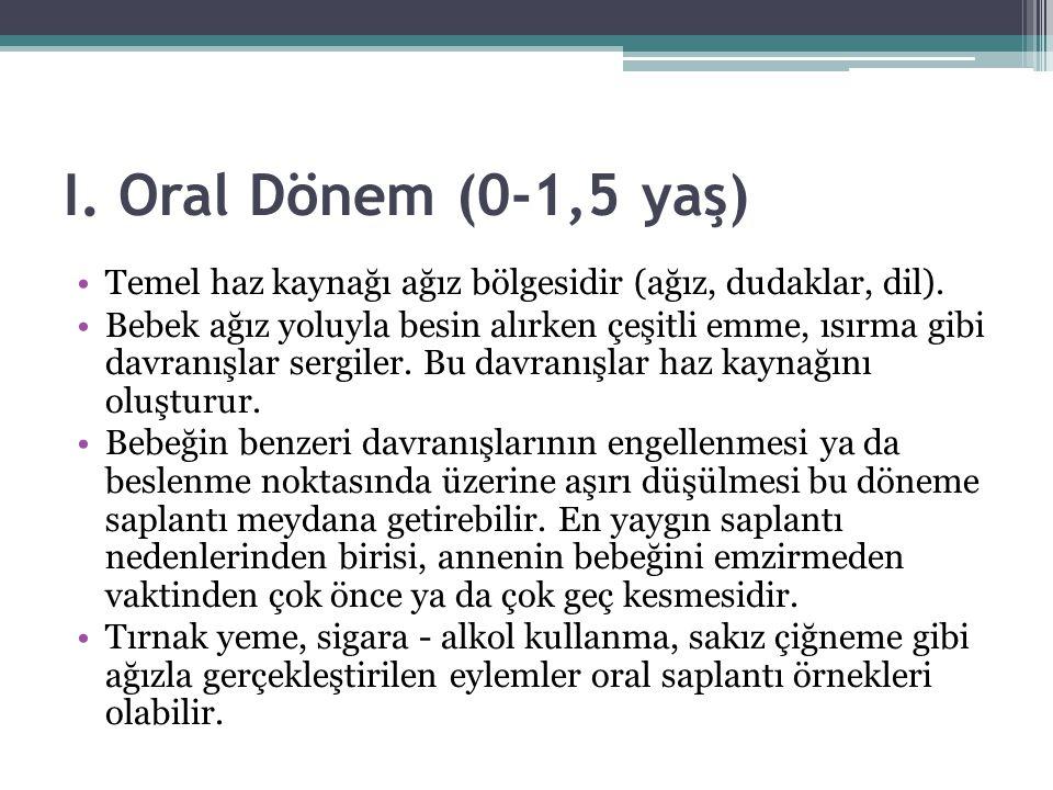 I. Oral Dönem (0-1,5 yaş) Temel haz kaynağı ağız bölgesidir (ağız, dudaklar, dil). Bebek ağız yoluyla besin alırken çeşitli emme, ısırma gibi davranış