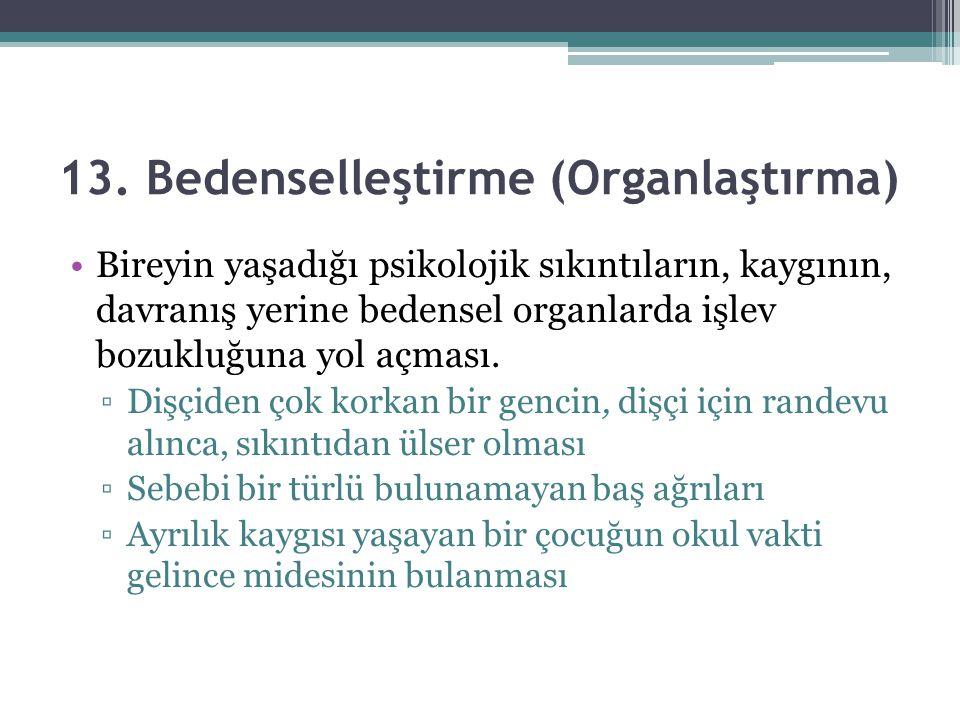 13. Bedenselleştirme (Organlaştırma) Bireyin yaşadığı psikolojik sıkıntıların, kaygının, davranış yerine bedensel organlarda işlev bozukluğuna yol açm