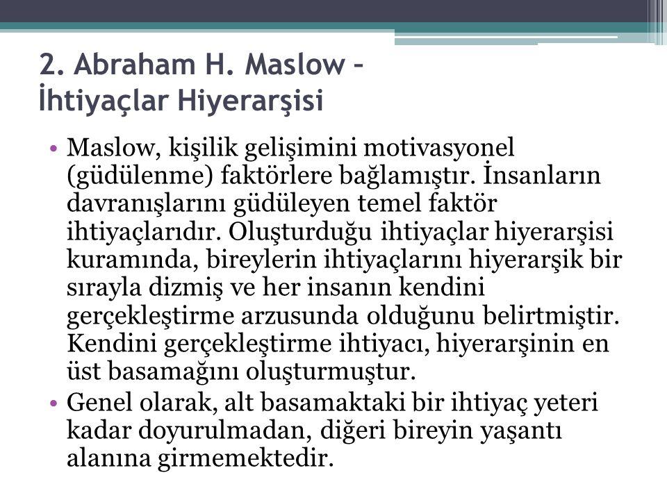 2. Abraham H. Maslow – İhtiyaçlar Hiyerarşisi Maslow, kişilik gelişimini motivasyonel (güdülenme) faktörlere bağlamıştır. İnsanların davranışlarını gü