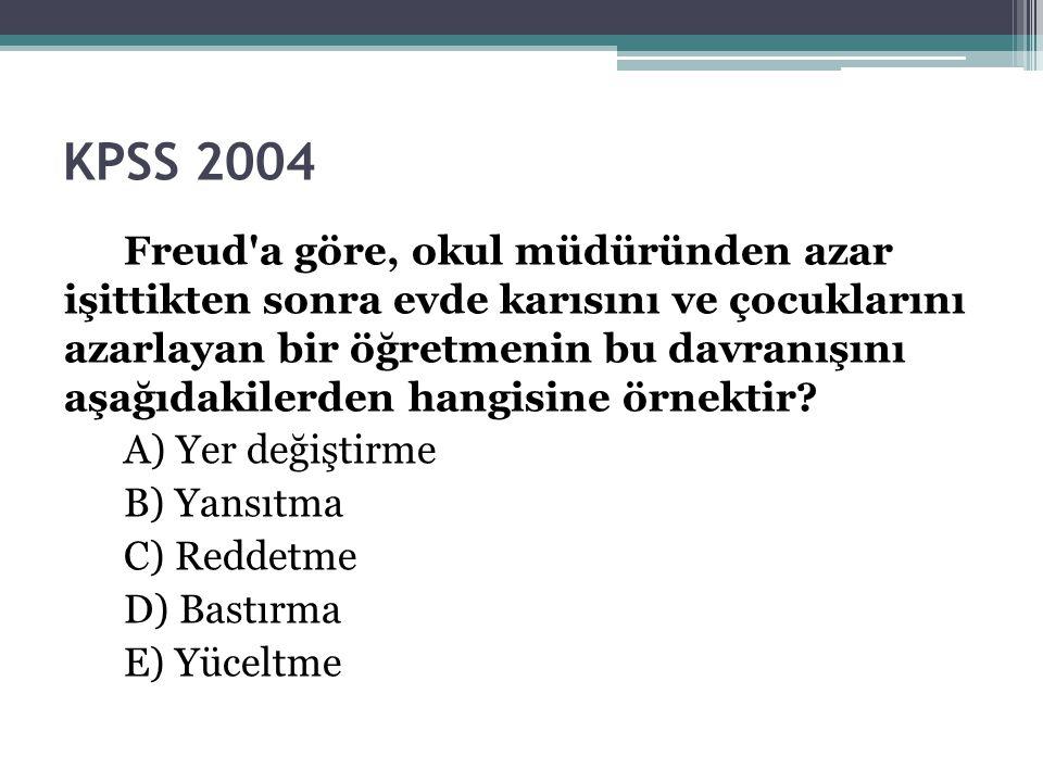 KPSS 2004 Freud'a göre, okul müdüründen azar işittikten sonra evde karısını ve çocuklarını azarlayan bir öğretmenin bu davranışını aşağıdakilerden han