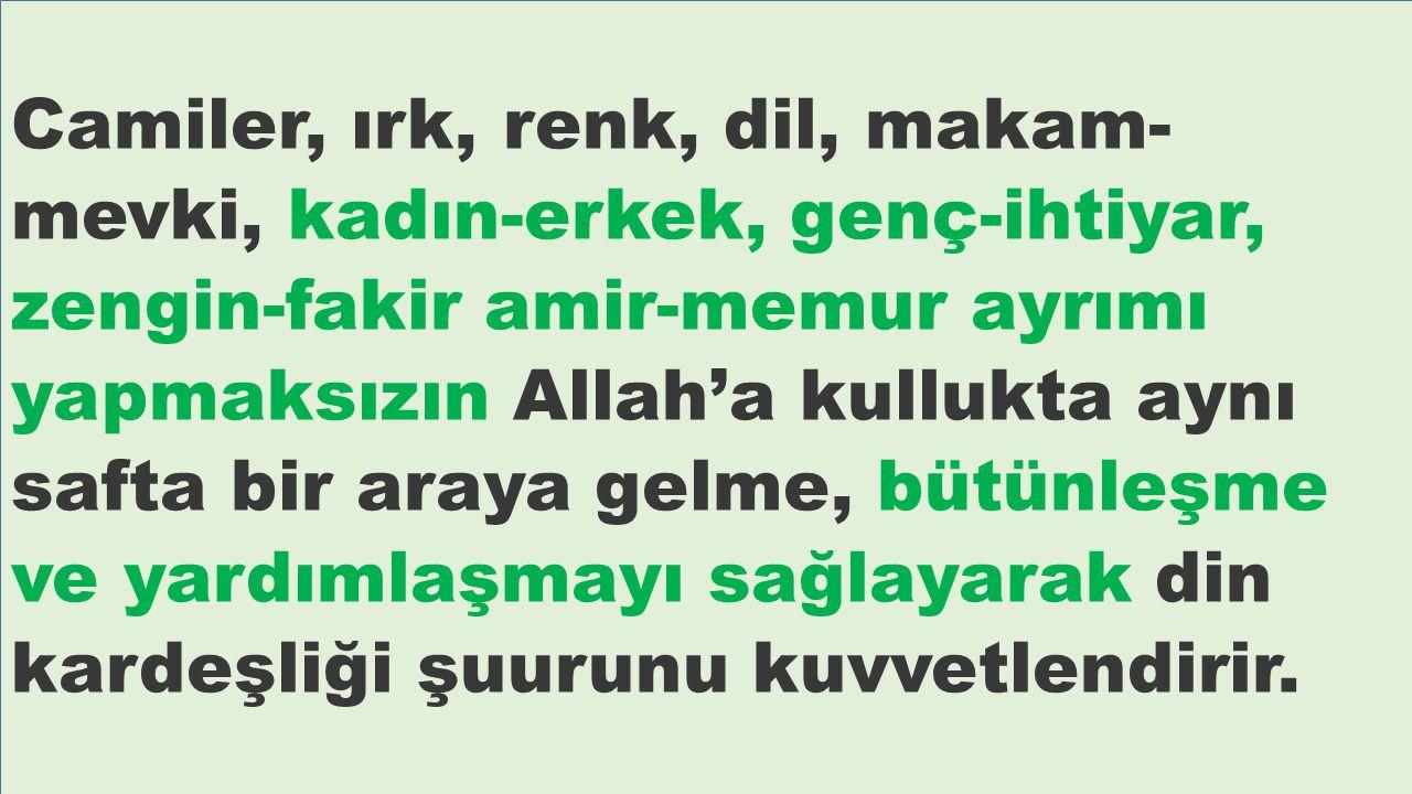 Camiler, ırk, renk, dil, makam- mevki, kadın-erkek, genç-ihtiyar, zengin-fakir amir-memur ayrımı yapmaksızın Allah'a kullukta aynı safta bir araya gel