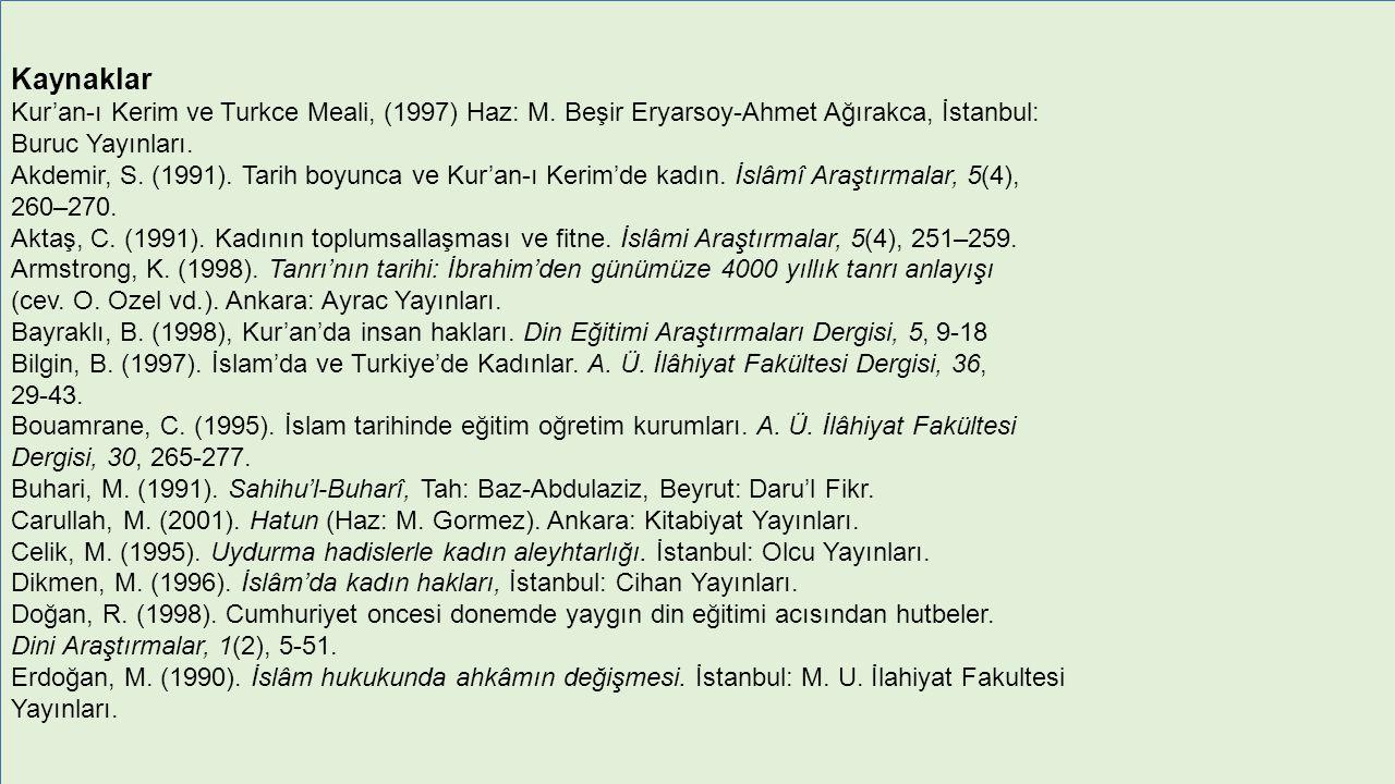 Kaynaklar Kur'an-ı Kerim ve Turkce Meali, (1997) Haz: M.