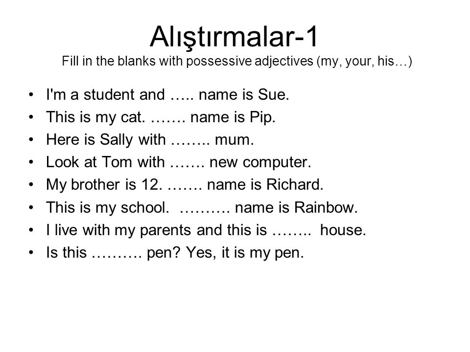 Alıştırmalar-2 Fill in the blanks with something or anything 1.There is …….