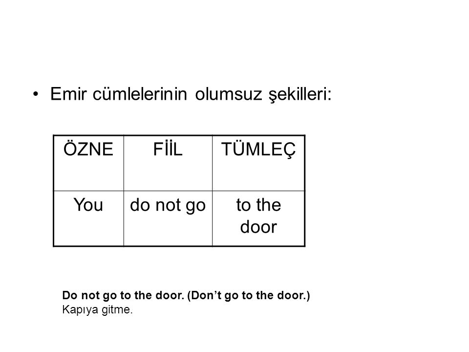 *Do not go to the door.(Don't go to the door.) Kapıya gitme.