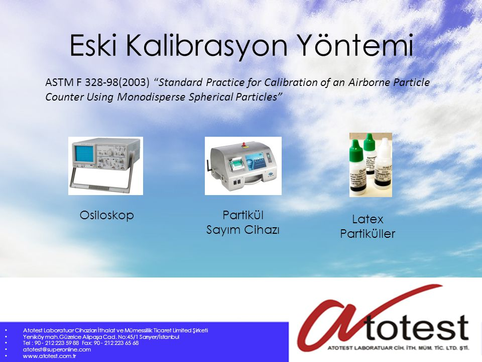 "Eski Kalibrasyon Yöntemi ASTM F 328-98(2003) ""Standard Practice for Calibration of an Airborne Particle Counter Using Monodisperse Spherical Particles"