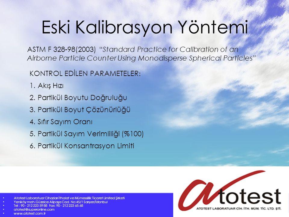 Yeni Kalibrasyon Yöntemi Atotest Laboratuar Cihazları İthalat ve Mümessillik Ticaret Limited Şirketi Yeniköy mah.Güzelce Alipaşa Cad.