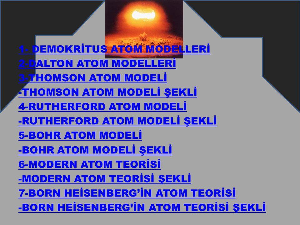1- DEMOKRİTUS ATOM MODELLERİ 2-DALTON ATOM MODELLERİ 3-THOMSON ATOM MODELİ -THOMSON ATOM MODELİ ŞEKLİ 4-RUTHERFORD ATOM MODELİ -RUTHERFORD ATOM MODELİ