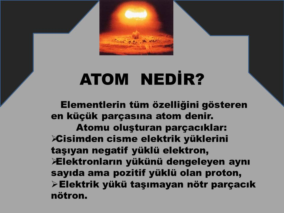 ATOM NEDİR? Elementlerin tüm özelliğini gösteren en küçük parçasına atom denir. Atomu oluşturan parçacıklar:  Cisimden cisme elektrik yüklerini taşıy