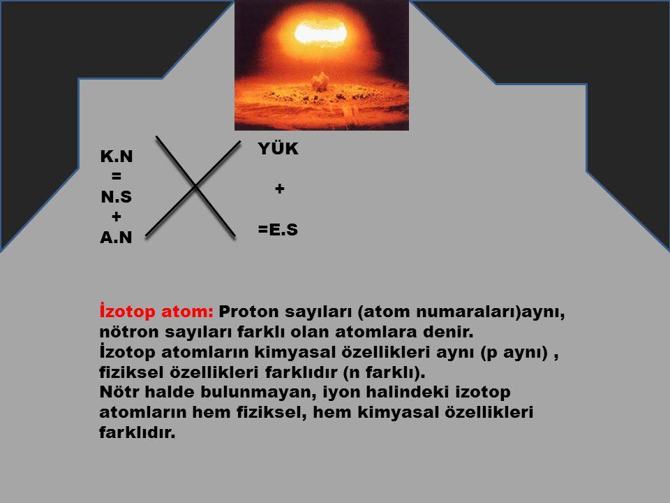 K.N = N.S + A.N YÜK + =E.S İzotop atom: Proton sayıları (atom numaraları)aynı, nötron sayıları farklı olan atomlara denir. İzotop atomların kimyasal ö