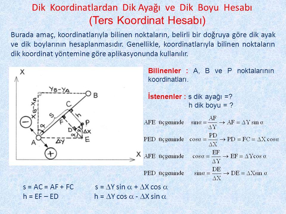 Dik Koordinatlardan Dik Ayağı ve Dik Boyu Hesabı (Ters Koordinat Hesabı) Bilinenler : A, B ve P noktalarının koordinatları.