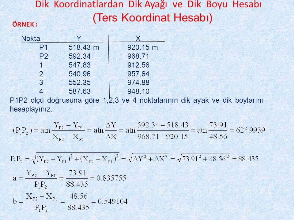 Dik Koordinatlardan Dik Ayağı ve Dik Boyu Hesabı (Ters Koordinat Hesabı) ÖRNEK : Nokta Y X P1518.43 m920.15 m P2592.34968.71 1547.83912.56 2540.96957.64 3552.35974.88 4587.63948.10 P1P2 ölçü doğrusuna göre 1,2,3 ve 4 noktalarının dik ayak ve dik boylarını hesaplayınız.